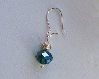 Teal Green Earrings Crystal Bead Earrings in Sterling Silver