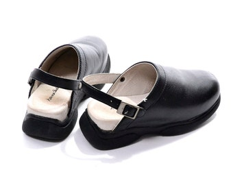 Hanna Andersson Black Leather Clogs / Toddler Clogs with Heel Strap Size 29 US size 11.5