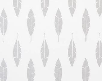 1 Yard Silver Feathers Fabric - Premier Prints Feathers Silhouette - Luna Silver and White Fabric. Fabric by the Yard. Feather Fabric.