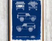 Land Rover Defender 90 A4 Hand coated traditionally made cyanotype blueprint