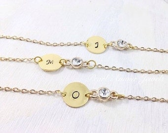 Personalized Bridesmaids Gifts - Initial Jewelry - Personalized Bracelet - Personalized Jewelry - Gold Personalized