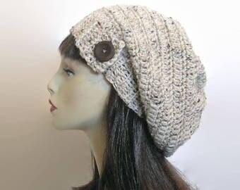 Crochet Slouchy Hat Oatmeal Beanie Slouchy Beanie  Women's hat Beige Knit Beanie Oatmeal Tweed  Beret Light Tan Hat Crochet Tam with Button