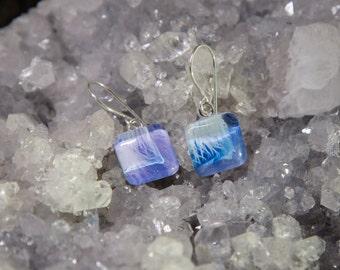 Purple Anemone Square Glass Tile Earrings