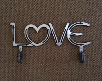 Horseshoe LOVE Sign, wall hanging with 2 hooks, can be engraved, 6th or 11th 2006 or 2011 anniversary gift