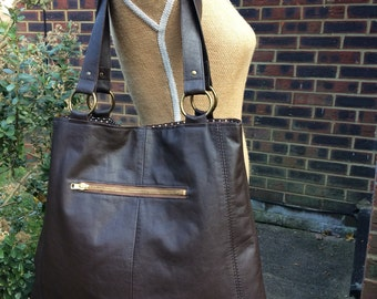 Recycled leather bag - Dark Brown   soft leather bag- saddle style-tote-shopper- zip pocket.
