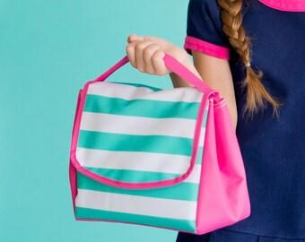 Personalized Skylar Stripe Lunch Tote - Monogrammed Lunchbox - Striped Lunch Bag ~ Monogrammed Lunch Bag ~ FREE Personalization ~ Quick Ship