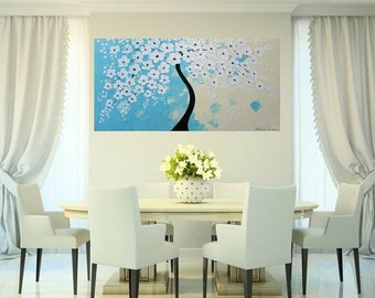 SALE SALE XLarge gallery wrap canvas Original Contemporary   oil/acrylic  Impasto painting Dreamy Aqua Blossoms  by Nicolette Vaughan Horner