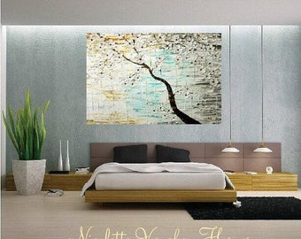SALE ENORMOUS ORIGINAL gallery canvas-Textured,seafoam,white,rust,grey abstract  landscape Tree Of Life painting by Nicolette Vaughan Horner