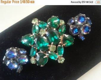Now On Sale Rhinestone Brooch Earring Set * 1950's Jewelry * High End Blue Green Stone Demi Parure * Mad Men Mod * Old Hollywood Glam