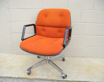 Pollock Knoll Style Office Arm Chair - Retro Orange Cream Back - Mid Century Chrome - Rolls Spins Tilts Swivels PAIR AVAILABLE #2 - Allsteel