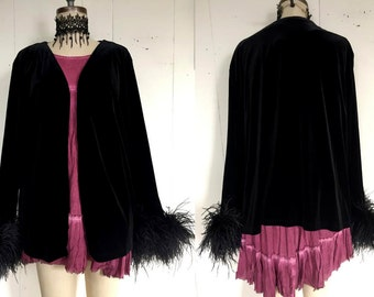 Black Velvet Marabou Feather Puffed Sleeve Cuff Baggy Cardigan