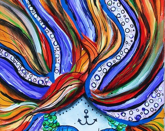 Mermaid painting, sugar skull, dia de los muertos,day of the dead,tentacles,ocean,ursula, tattoo, sea witch,tattoo, mosaic, mexican, art