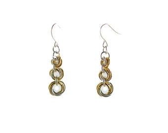 Silver and Gold Mobius Flower Earrings