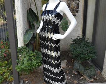 Vintage 1960's Lillian's Black & Silver Sequin Evening Dress - Size 2
