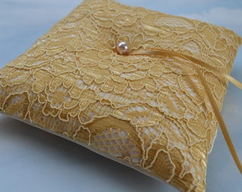 Yellow gold lace and ivory wedding ring cushion. Gold bridal ring pillow.