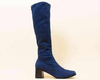 90s does 60s Vtg DENIM Blue Jean Knee High Stretch Bandage Boots / Mod Minimalist Grunge Platform Chunky Heel 8 8.5 Eu 38.5 39