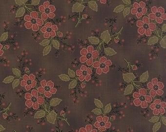 15% off thru 2/28 ALICES SCRAPBAG Moda fabric by the half yard 100 Percent quilt weight cotton Civil War floral BOUQUET on chocolate brown 8