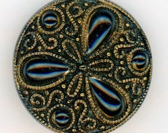 Vintage Black Glass Sewing Button with Triad Design ~ 7/8 inch 22mm ~ Gold Luster and Self Shank