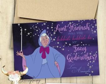 Godmother Card Fairy Godmother Card Will You be my Godmother Card PRINTABLE Bibbidi Bobbidi Be My Fairy Godmother