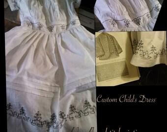 Civil War Childs Dress (CUSTOM MADE)  In Black or Red Trim