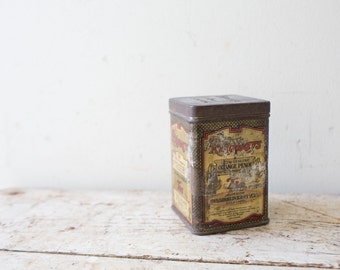 Vintage Orange Pekoe Ridgways Tea Tin Canister with Lid - Brown Rusy Planter Ceylon Metal Canester Japan Tea Tin Tea Caddy Retro