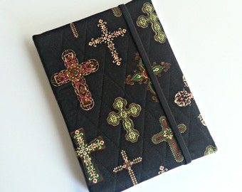 Kindle/Nook/iPad Mini/Samsung Tab Cover/case quilted in Black and Gold Cross print