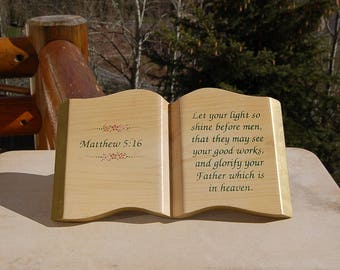 Matthew 5:16 Wood Book Plaque Let you Light so Shine