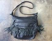 RESERVED Leather Fringe Purse / Black Bohemian Handbag / Slouchy Multi Pocket Bag
