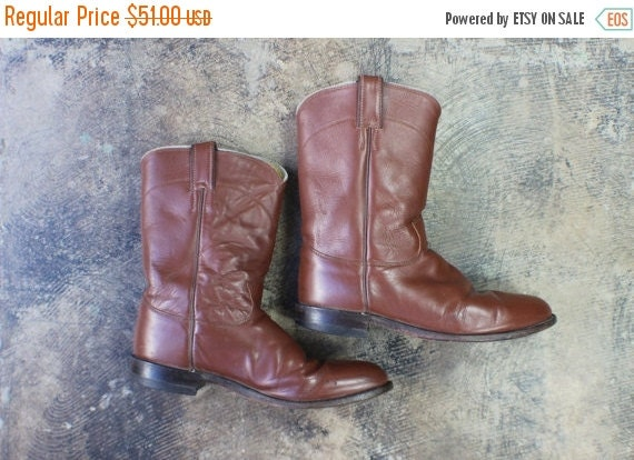 SALE Size 9 1/2 D Men's Vintage Cowboy BOOTS / Vintage Chestnut Brown Leather Ropers / Men's Shoes