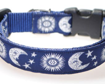 "Celestial Sun and Moon Blue and Silver 1"" Adjustable Dog Collar"