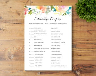 INSTANT DOWNLOAD, Printable Bridal Shower Game, Celebrity Couples, Watercolor Flowers