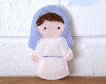 Virgin Mary- Catholic Saint Toy - Finger Puppet- Ornament