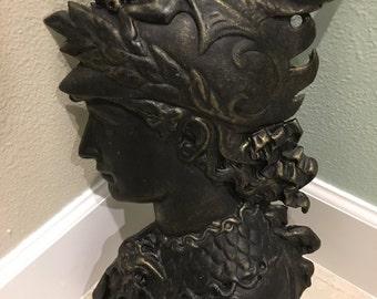 Vintage greek mythology wall art head aluminum Perseus look