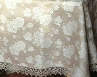 "Tablecloth Wedding Tablecloth Lace Tablecloth mothers day gift Linen Tablecloth Tablecloth Washed Linen Flowers Lace 88"" x 62"""