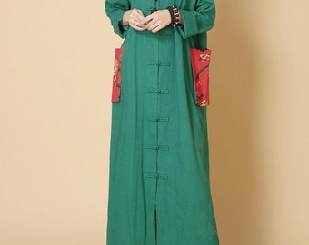 spring Loose Long Big Hooded Maxi dress long sleeved large size dress