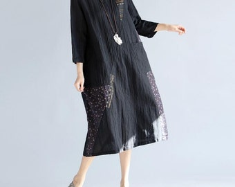 black cotton and linen round collar loose dress Women long dress