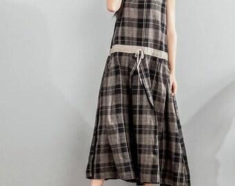 Loose sleeveless Long  plaid dress summer Women Sundress
