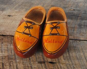 Vintage Dutch Holland Wooden Clog Shoes Decorative