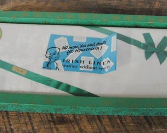 Vintage Shamrock Pattern Tablecloth Pure Irish Linen 72 x 108