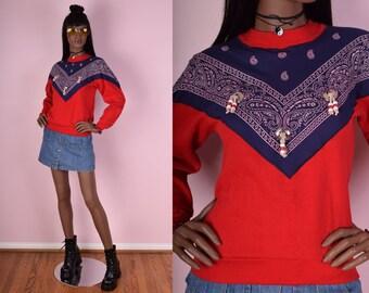 80s Red Bandana Beaded Sweatshirt/ X-Small/ 1980s
