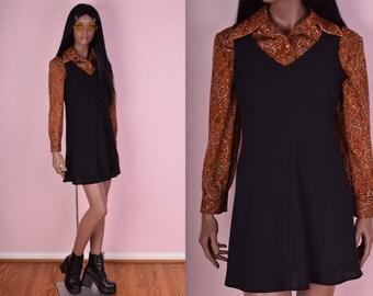 90s Black Mini Dress/ US 7/ 1990s/ Tank/ Sleeveless