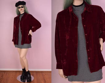 90s Red Crushed Velvet Shirt/ XL/ 1990s/ Long Sleeve/ Button Down