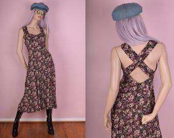 90s Floral Print Maxi Dress/ US 5-6/ 1990s/ Tank/ Sleeveless