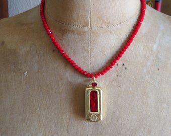 PROTECTOR- Early 1900's VIRGIN MARY Vintage Brass Pocket Shrine Necklace
