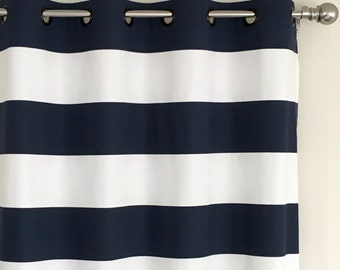 Navy White Horizontal Cabana Stripe Curtains, Grommet Top - 84 96 108 or 120 Long by 24 or 50 Wide -