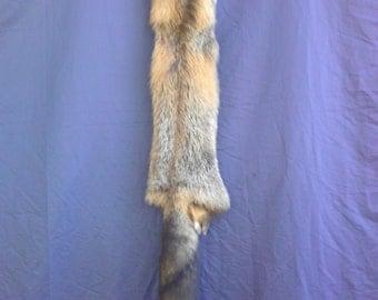 Real animal Tanned cross fox  Fur Pelt skin hide rug part weird man cave taxidermy craft