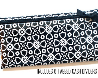 Black and white cash budgeting wallet in laminated cotton fabric with 6 category dividers