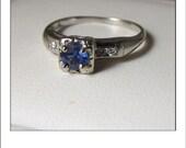 Antique 14k Ceylon Sapphire  Diamond Engagement Ring