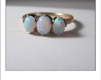 Vintage 14k Large Colorful 3  Opal Ring