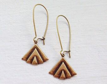 Gift For Her/Bohemian Earrings/Boho Earrings/Fan Earrings/Lightweight Earrings/Art Deco Earrings/Dangle Earrings/Triangle Earrings